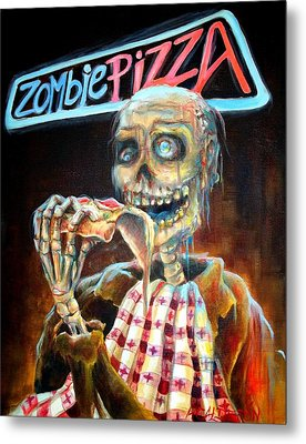 Zombie Pizza Metal Print by Heather Calderon