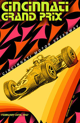 Cincinnati Grand Prix 1967 Poster by Georgia Fowler