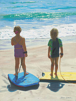 Girls On Boogie Boards Poster by Steve Simon