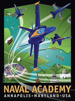 Blue Angels Over Usna Poster by Joe Barsin