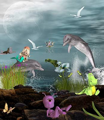 Dolphin Play Poster by Morning Dew
