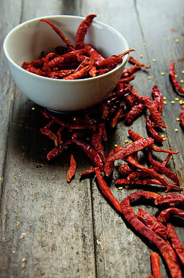 Dried Chilies In White Bowl Poster by Lina Aidukaite