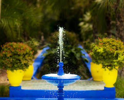Fountain In Jardin Majorelle Morocco Poster by Beth Riser