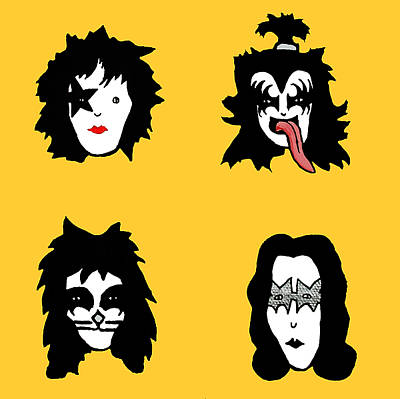 Kiss On Yellow Poster by Jera Sky