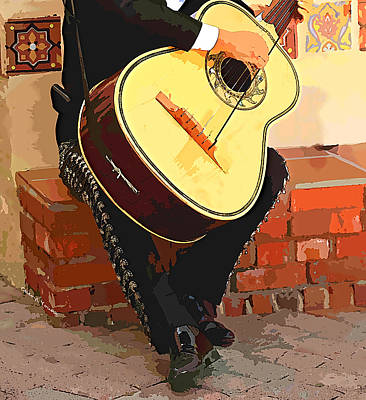 Mariachi Guitarron  Poster by Cheryl Young