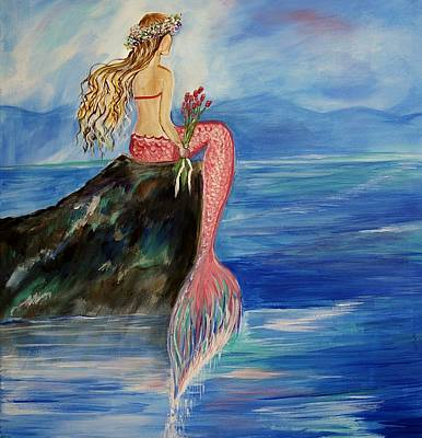 Mermaid Wishes Poster by Leslie Allen