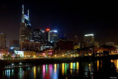 Nashville Skyline At Night Poster by Brian Stamm