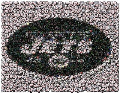 New York Jets Bottle Cap Mosaic Poster by Paul Van Scott