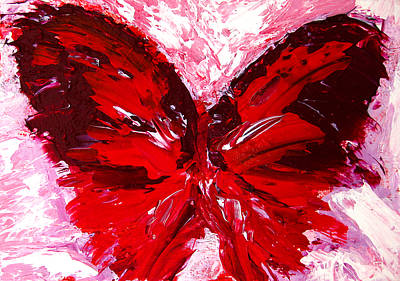 Red Butterfly Poster by Patricia Awapara