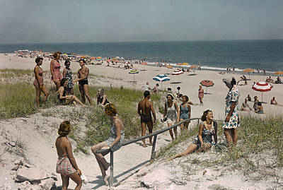 Sunbathers And Beach Umbrellas Dot Poster by Willard Culver