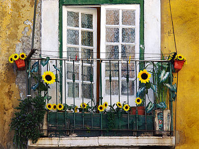 Sunflower Balcony Poster by Carlos Caetano