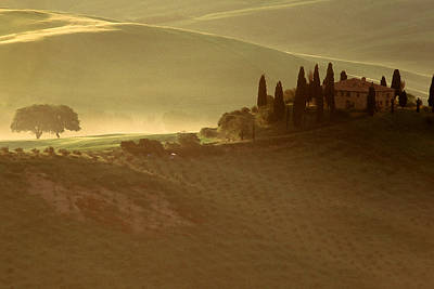 Tuscan Farmouse In Morning Mist Poster by Andrew Soundarajan