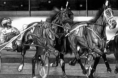 Race Horse Drawing - Harness Race by Jerry Winick