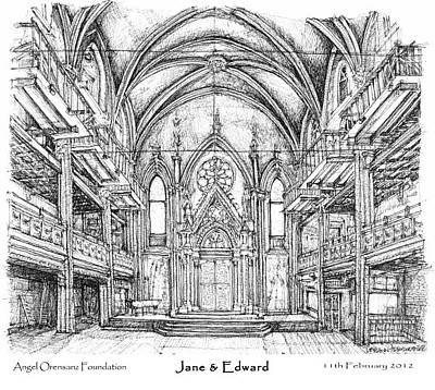 Synagogue Drawing - Angel Orensanz Jane And Edward's Wedding by Building  Art