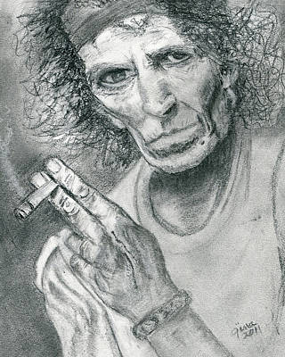 Keith Richards Drawing - Keith Richards by Gina Cordova