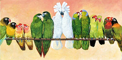 Lovebird Painting - 14 Birds On A Stick by Kathryn Donatelli