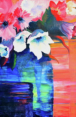 Bouquets Of Pink Flowers Green Blue Painting - Abundance by Robin Zuege