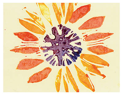 Lino Painting - 60's Sunflower by Annie Alexander