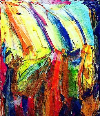 Abstract Painting - Abstract Colored Rain by Jennifer Godshalk