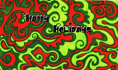Abstract Happy Holidays Print by Mandy Shupp
