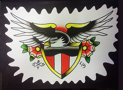 Tattoo Flash Painting - American Eagle by Dustin Shaw