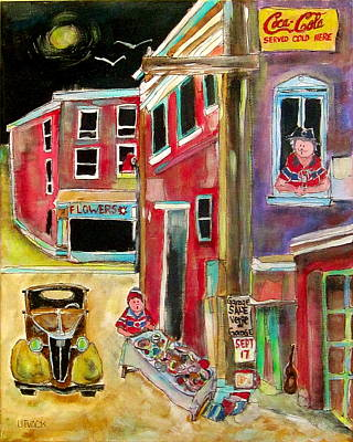 Litvack Naive Painting - Back Lane Garage Sale by Michael Litvack