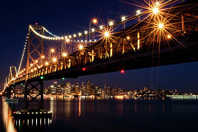 San Francisco Street Photograph - Bay Bridge In Front Of San Francisco Skyline by Blue Hour Photography