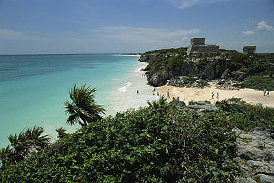Beach Scenes Photograph - Beach Scene With Mayan Ruins by Steve Winter