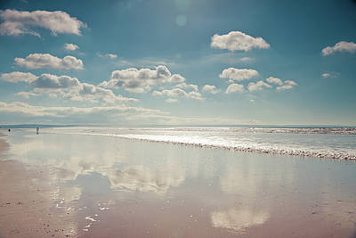 Beach With Cloud Reflections And Blue Sky Print by Www.zoepower.co.uk