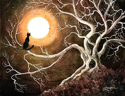 Moon Digital Art - Black Cat In A Spooky Old Tree by Laura Iverson