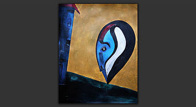 Behind The Scenes Painting - Blue-question by Gabor Gyurko