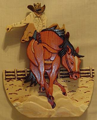 Intarsia Sculpture - Broncobuster by Russell Ellingsworth
