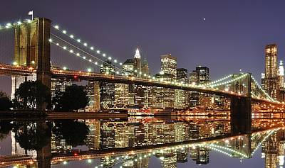 Illuminated Photograph - Brooklyn Bridge At Night by Sean Pavone