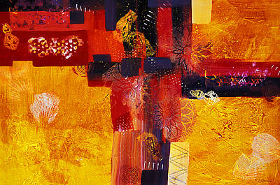 Byzantine Times An Abstract Painting Of Geometric Shapes Print by Phil Albone