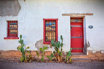Cactus With Red Door And Windows Print by Matt Suess