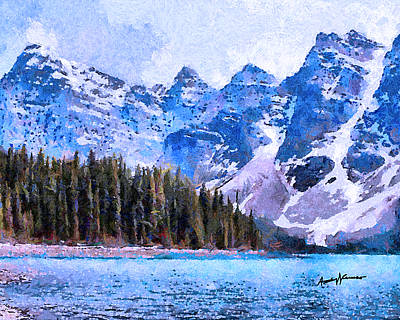 Rocky Mountains Digital Art - Canadian Rocky Mountain Scene by Anthony Caruso