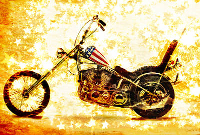Motorcycle Mixed Media - Captain America by Russell Pierce