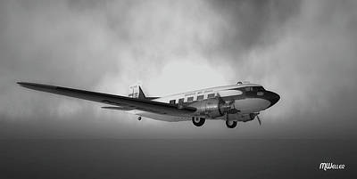Dc-3 Over Water Print by Mark Weller
