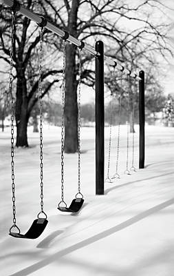 Bare Tree Photograph - Deep Snow & Empty Swings After The Blizzard by Trina Dopp Photography