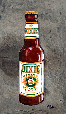 Acadian Painting - Dixie Beer Bottle by Elaine Hodges