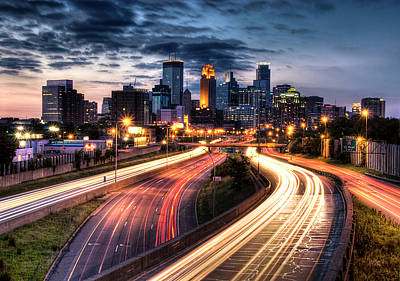Illuminated Photograph - Downtown Minneapolis Skyscrapers by Greg Benz