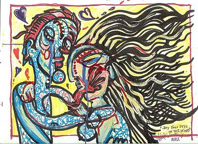 Folk Art Mixed Media - Dry Your Eyes In The Wind by Robert Wolverton Jr