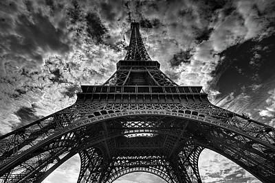 White Photograph - Eiffel Tower by Allen Parseghian
