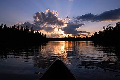 Evening Paddle On Spoon Lake Print by Larry Ricker