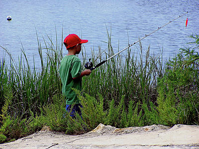 Fishing At Hickory Mound Print by Marilyn Holkham