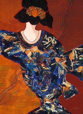 Contemporary Mixed Media - Geisha Two A Collage Of A Japanese Woman by Phil Albone