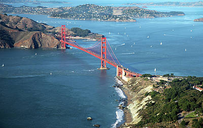 Aerials Photograph - Golden Gate Bridge by Stickney Design