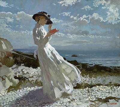 Coastal Oil Painting - Grace Reading At Howth Bay by Sir William Orpen