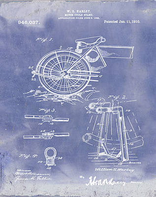 Harley Drawing - Harley Davidson Kickstand Patent 1910 In Blue Grunge by Bill Cannon