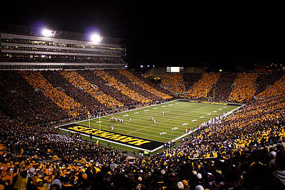 Iowa Black And Gold Stripes At Kinnick Stadium Print by Justin Scott
